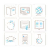 Set of vector education icons and concepts in mono thin line style Stock Photos