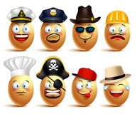 Set of vector egg faces of professionals with caps in emotions Stock Image