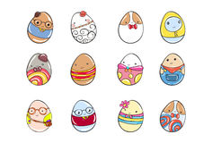 Set of Vector eggs emoticon dressed cutely with facial expressions. Stock Photo