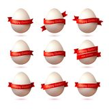 Set of vector eggs with red ribbons. Stock Photography