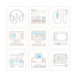 Set of vector electronics icons and concepts in mono thin line style Stock Photography