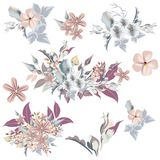 Set of vector elegant flowers in vintage style, ideal for wedding design and invitations vector illustration