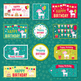 Set of vector elements for birthday design. Labels, stickers, tags for gifts, invitations and congratulations. Children Stock Photos