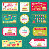 Set of vector elements for birthday design. Labels, stickers, tags for gifts, invitations and congratulations. Children Stock Images