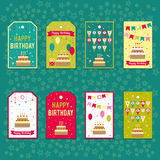Set of vector elements for birthday design. Labels, stickers, tags for gifts, invitations and congratulations. Children Stock Image