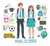 Set of vector elements for design school Royalty Free Stock Photo