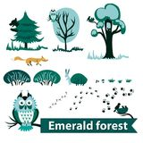 Set of vector elements from forest animals in the style of a card. Isolated image. stock illustration