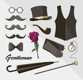 Set of vector elements for gentlemen. Design elements for your projects, cards, invitation, gentleman clothes Royalty Free Stock Photos