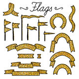 Set of vector elements with gold glitter for party and Birthday Royalty Free Stock Images