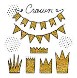 Set of vector elements with gold glitter for party and Birthday Stock Image