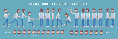 Set of vector elements for man, guy character creation and animation Royalty Free Stock Image