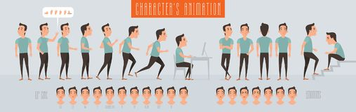 Set of vector elements for man animation Stock Photos