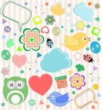 Set of vector elements owls, birds, flowers. Set of elements - owls, birds, flowers, ladybugs Stock Photography