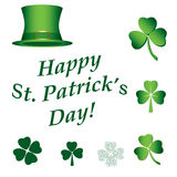 Set of vector elements for saint patricks day - hat, clovers, te Stock Images