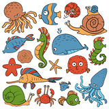 Set of vector elements (sea life) Stock Images