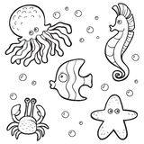 Set of vector elements (sea life) Stock Photo