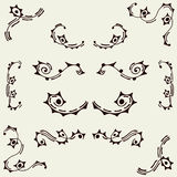 Set of vector elements. Swirls, circles and sticks. Stock Image