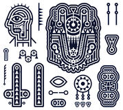 Set of Vector Elements in Techno Tribal Style Royalty Free Stock Images