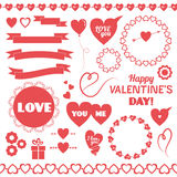 Set of vector elements for Valentines Day. Royalty Free Stock Images