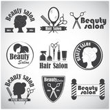 Set of vector emblem, label, badge, logos for hairdresser`s salon. Hair, beauty salon vector illustration