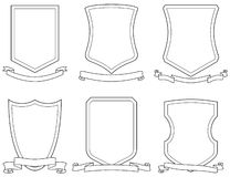 Set of vector emblems, crests, shields and scrolls Stock Image