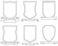 Set of vector emblems, crests, shields and scrolls vector illustration