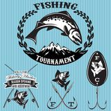 Set vector emblems on the topic fishing. Set of vector emblems on the topic fishing Royalty Free Stock Photos