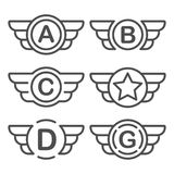 Set of the vector emblems with wings Royalty Free Stock Photo