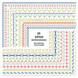 Set of vector embroidery stitch pattern brushes. Ethnic craft design. Cross borders Stock Images