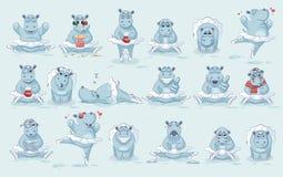 Set Vector Emoji character cartoon ballerina Hippopotamus royalty free illustration