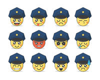 Set of vector emoticons in line style. Cute police icons. Stock Images