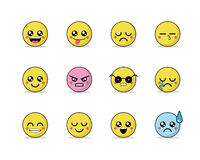 Set of vector emoticons in line style, emoji  on white background. Cute icons. Vector illustration Stock Photography