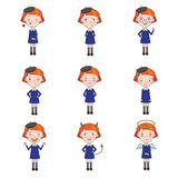 Set of Vector Emotions Character in Flat Style Royalty Free Stock Images