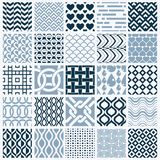 Set of vector endless geometric patterns composed with different Stock Photos
