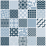 Set of vector endless geometric patterns composed with different. Figures like rhombuses, squares and circles. Graphic ornamental tiles made in black and white Stock Photos