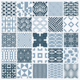 Set of vector endless geometric patterns composed with different. Figures like rhombuses, squares and circles. Graphic ornamental tiles made in black and white Stock Images