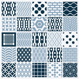 Set of vector endless geometric patterns composed with different. Figures like rhombuses, squares and circles. Graphic ornamental tiles made in black and white Royalty Free Stock Photo