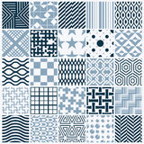 Set of vector endless geometric patterns composed. With different figures like rhombuses, squares and circles. Graphic ornamental tiles made in black and white Royalty Free Stock Photography