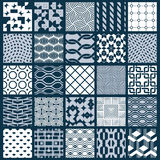 Set of vector endless geometric patterns composed with different. Figures like rhombuses, squares and circles. Graphic ornamental tiles made in black and white Stock Photography