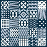 Set of vector endless geometric patterns composed with different. Figures like rhombuses, squares and circles. Graphic ornamental tiles made in black and white Stock Image