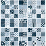 Set of vector endless geometric patterns composed with different. Figures like rhombuses, squares and circles. Graphic ornamental tiles made in black and white Royalty Free Stock Image