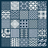 Set of vector endless geometric patterns composed with different. Figures like rhombuses, squares and circles. Graphic ornamental tiles made in black and white Stock Photo