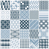 Set of vector endless geometric patterns composed with different. Figures like rhombuses, squares and circles. Graphic ornamental tiles made in black and white Royalty Free Stock Photography