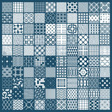 Set of vector endless geometric patterns composed with different. Figures like rhombuses, squares and circles. Graphic ornamental tiles made in black and white Royalty Free Stock Images