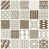Set of vector endless geometric patterns composed with different. Figures like rhombuses, squares and circles. 25 graphic tiles with ornamental texture can be Royalty Free Stock Image