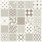 Set of vector endless geometric patterns composed. With different figures like rhombuses, squares and circles. 25 graphic tiles with ornamental texture can be Stock Photos