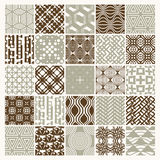 Set of vector endless geometric patterns composed with different. Figures like rhombuses, squares and circles. 25 graphic tiles with ornamental texture can be Stock Images