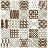 Set of vector endless geometric patterns composed with different. Figures like rhombuses, squares and circles. 25 graphic tiles with ornamental texture can be Royalty Free Stock Photos