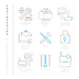 Set of vector engineering icons and concepts in mono thin line style Royalty Free Stock Photos