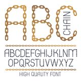 Set of vector English alphabet letters, abc isolated. Capital cr. Eative font made with iron chain, linked connection Vector Illustration